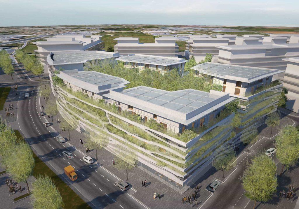 Groupe Cardinal -THE ISLAND - @Jakob+MacFarlane et Portal Teissier Architecture Vue aérienne