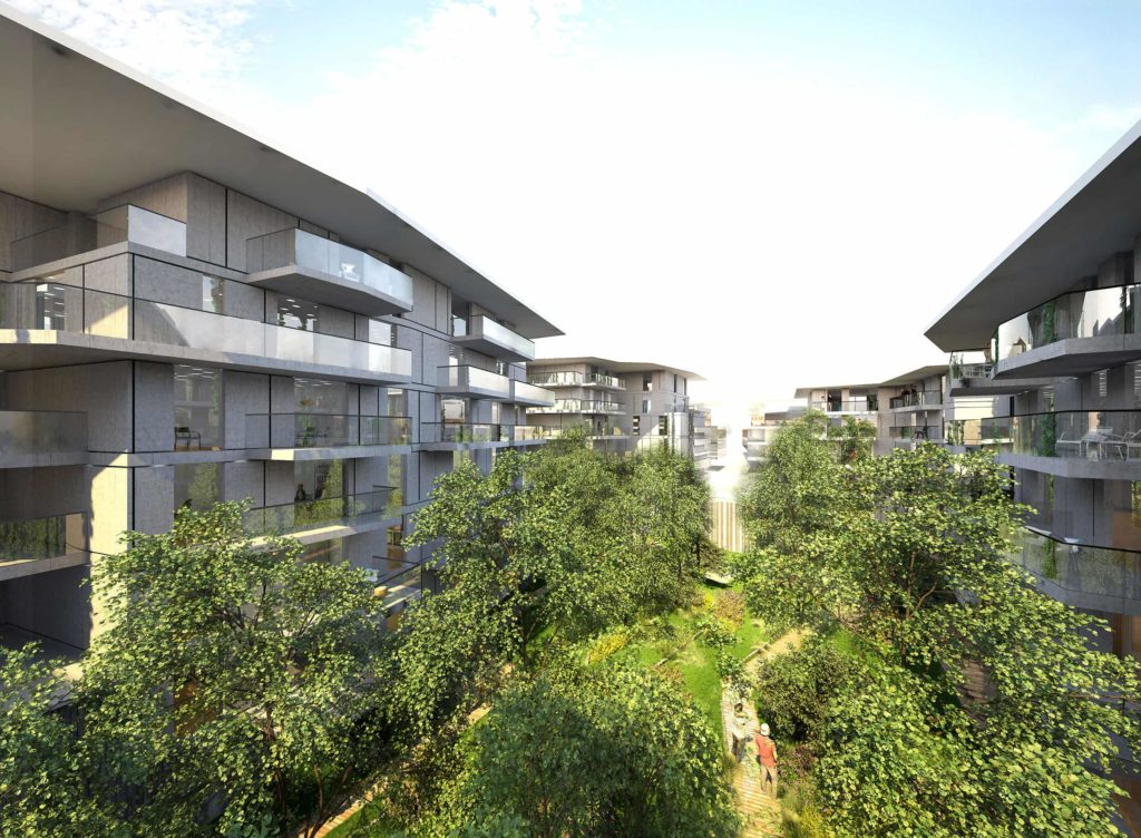 Groupe Cardinal -THE ISLAND - @Jakob+MacFarlane et Portal Teissier Architecture Vue jardin